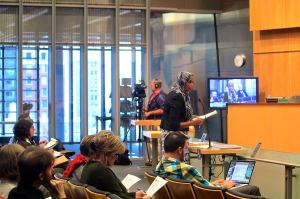 Lead Coalition Organizer Ubax Gardheere testifying in support of the linkage fee to City Council October14th